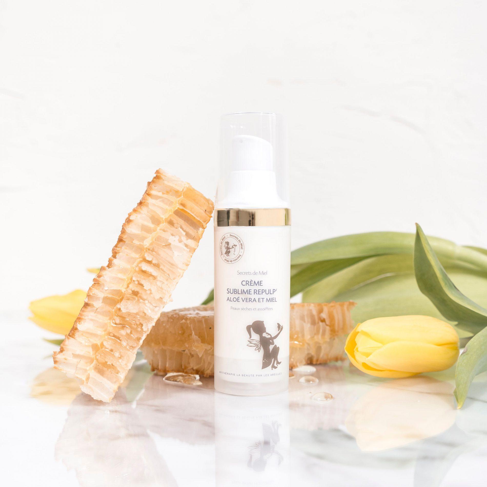 crème hydratante visage - tous types de peaux - Aloé Vera et Miel - Secrets de Miel