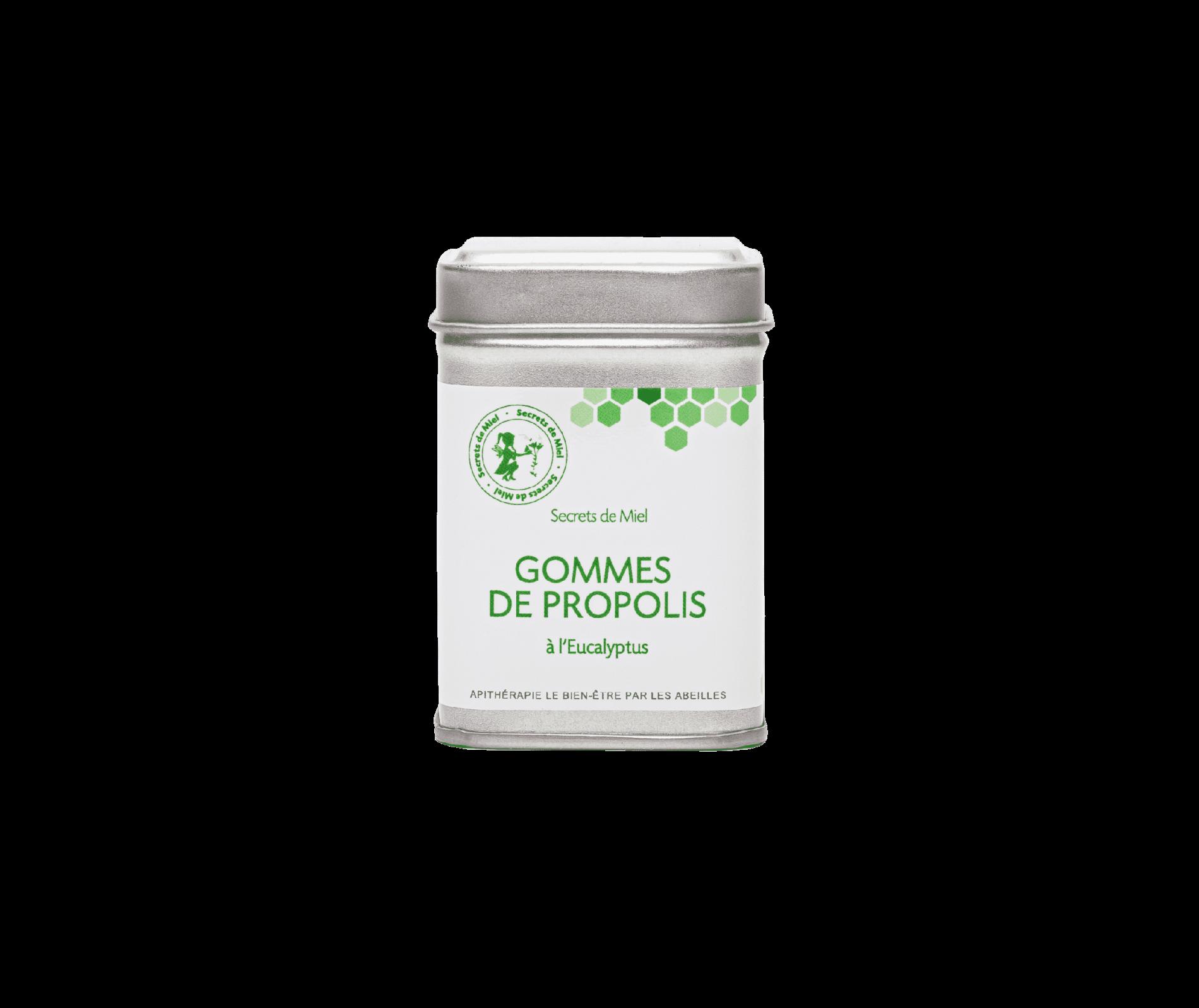 gommes propolis - eucalyptus - propolis - gommes à mâcher pour la gorge - Secrets de Miel