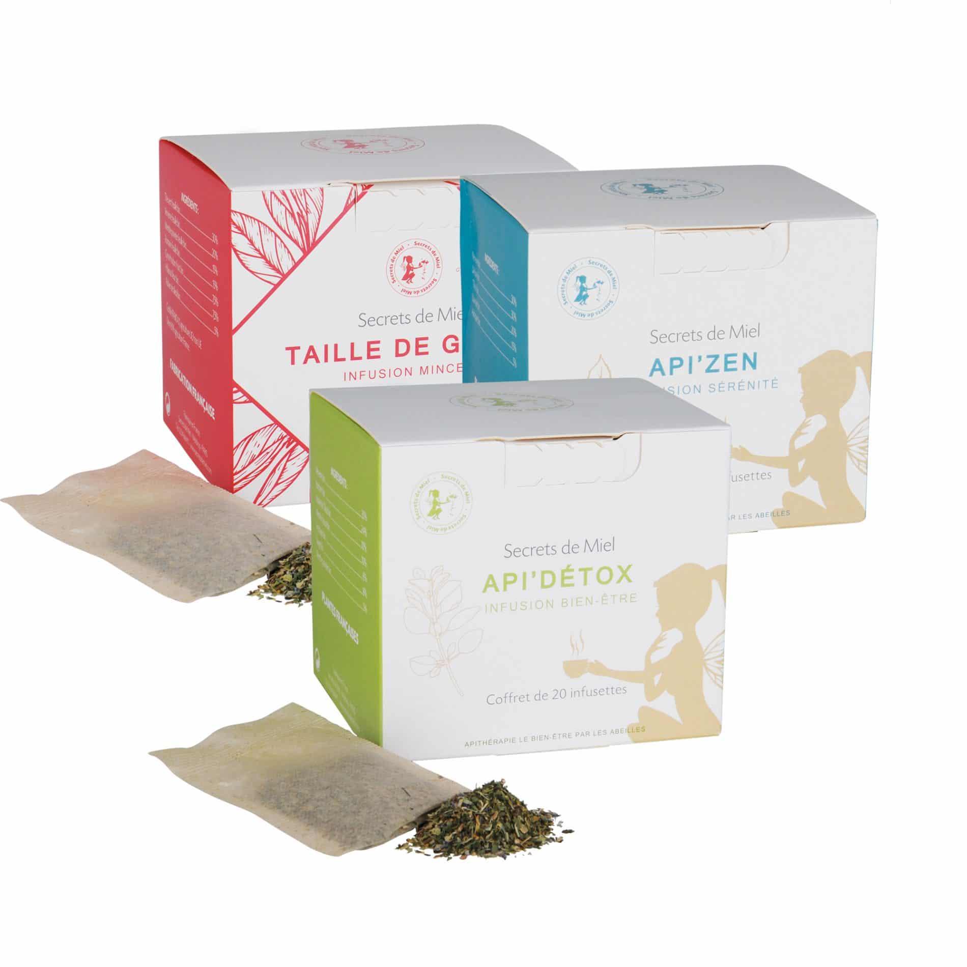 3 infusions - lot de 3 infusions - trois effets - bons effets - détox - digestion - minceur - taille de guê^pe - infusions - Produits naturels - Plantes - Secrets de Miel