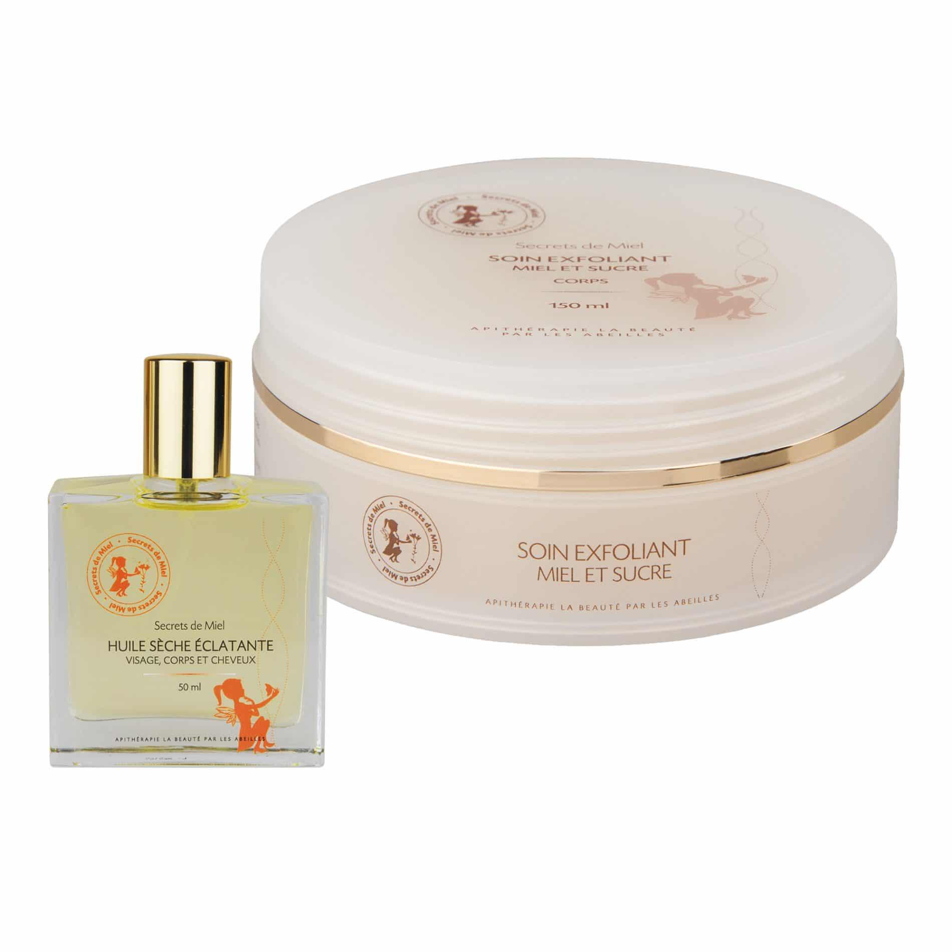 Duo gommage et huile - Entretenir la peau - bon pour la peau - gommage et douceur - elimine les impurtés - produit naturel - Secrets de Miel
