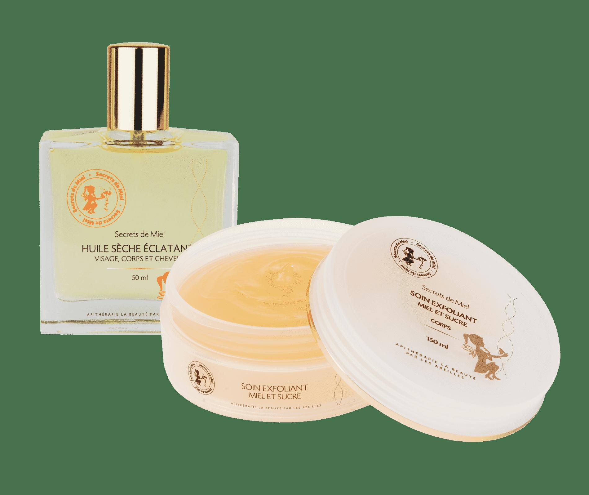 soin exfoliant miel et sucre - produits de la ruche - cosmétiques naturels - made in France - Huile sèche - huile corps et cheveux - produits hydratation corps