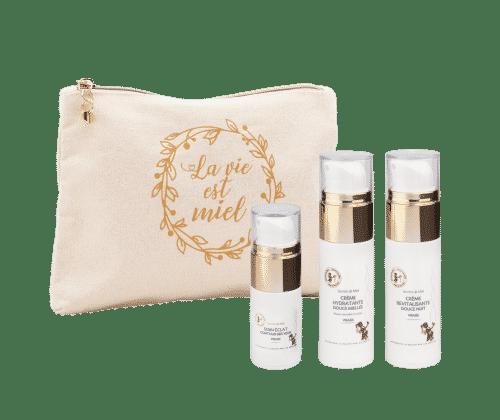 programme visage - trousse de toilette - essentiels visage - crème de jour - crème de nuit - produits naturels - Secrets de Miel
