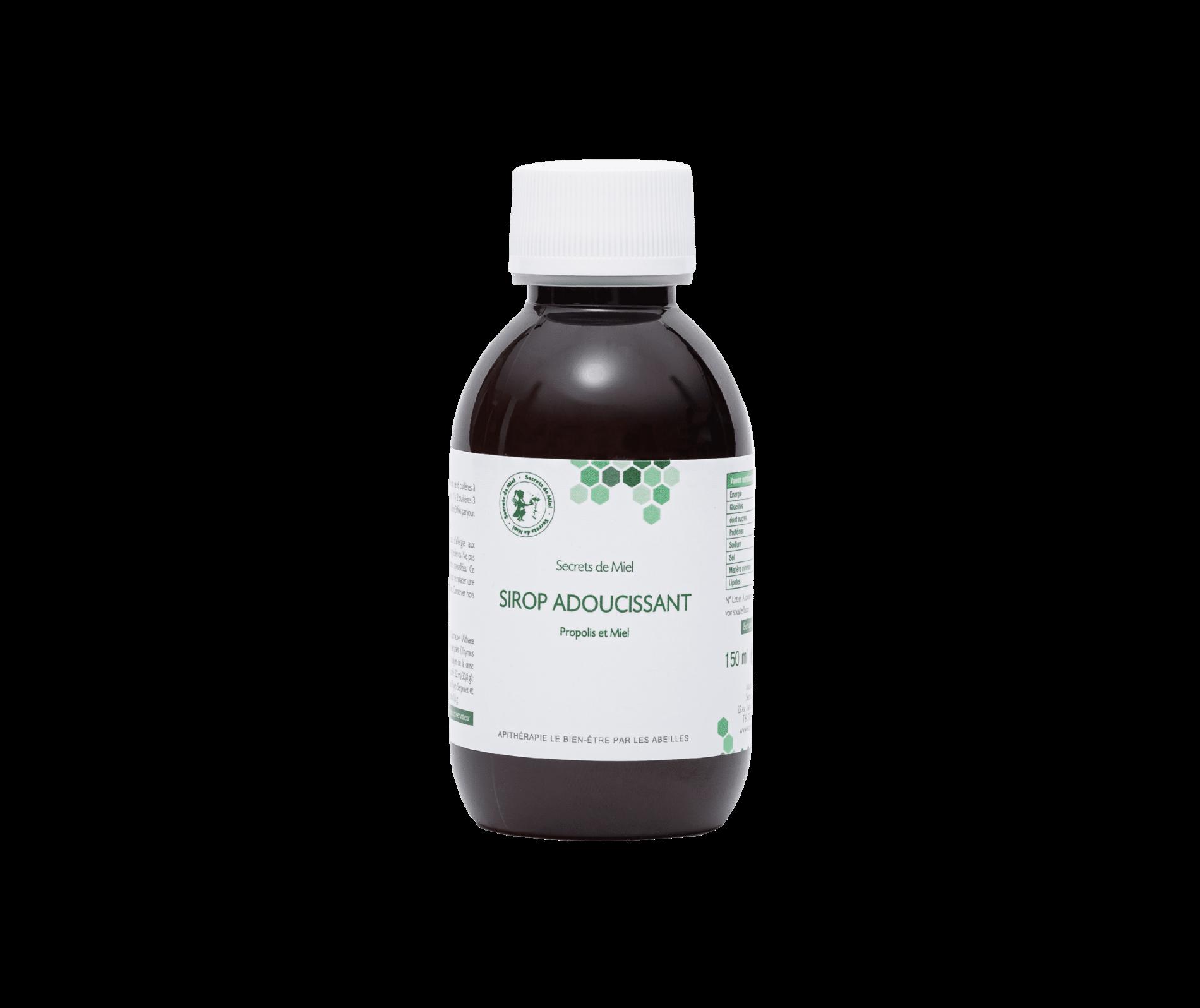 Sirop pour la gorge - thym et miel - propolis - adoucissant - gorges irritées - Secrets de Miel - produits de la ruche naturels