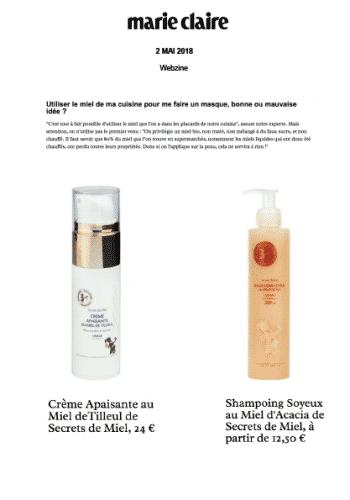 Trésors de la ruche - produits - Presse - Marie-Claire Magazine - Artcle - bienfaits des produits de la ruche - Secrets de Miel