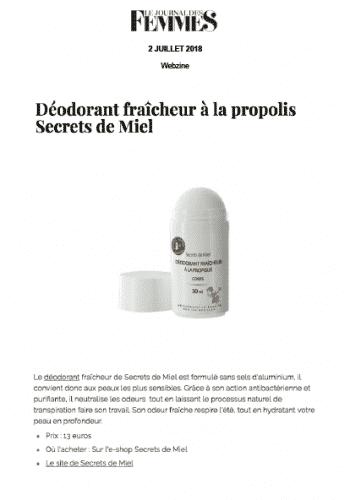 Déodorant à la propolis - Le journal des femmes - articles - Presse - on parle de nous - Secrets de Miel