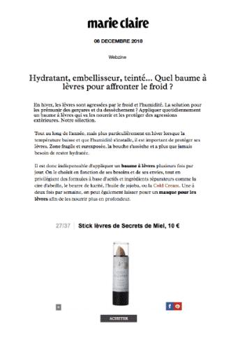 Stick à lèvres - Marie-Claire Magazine - Presse - Article - On parle de nous - Secrets de Miel