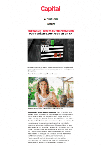 Secrets de Miel - Capital - entrepreunesue Elise - Emplois