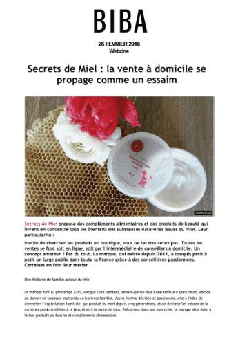 Crème hydratante corps - Biba - presse - article - on parle de nous - secrets de miel