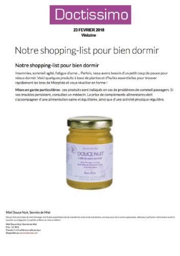 Douce nuit - doctissimo - presse - article - on parle de nous - secrets de miel