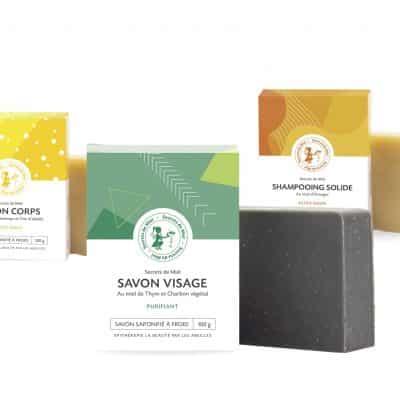 Trio savons solides - saponification à froid - produits naturels - secrets de miel