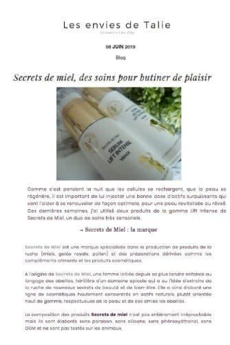 Presse - crèmes - secrets de miel