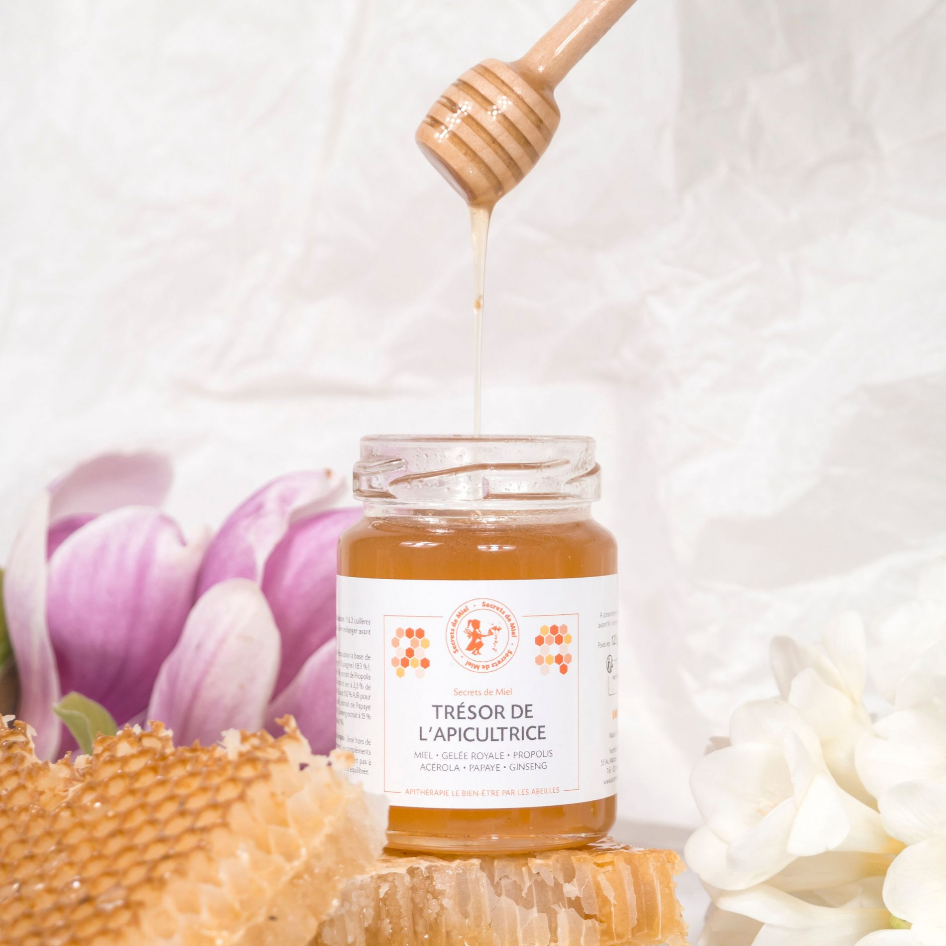 Trésor de l'Apicultrice - miel infusé à la Propolis et à la Gelée Royale - tonus - énergie - Secrets de Miel - produits naturels - produits de la ruche - recettes naturelles - apiculture