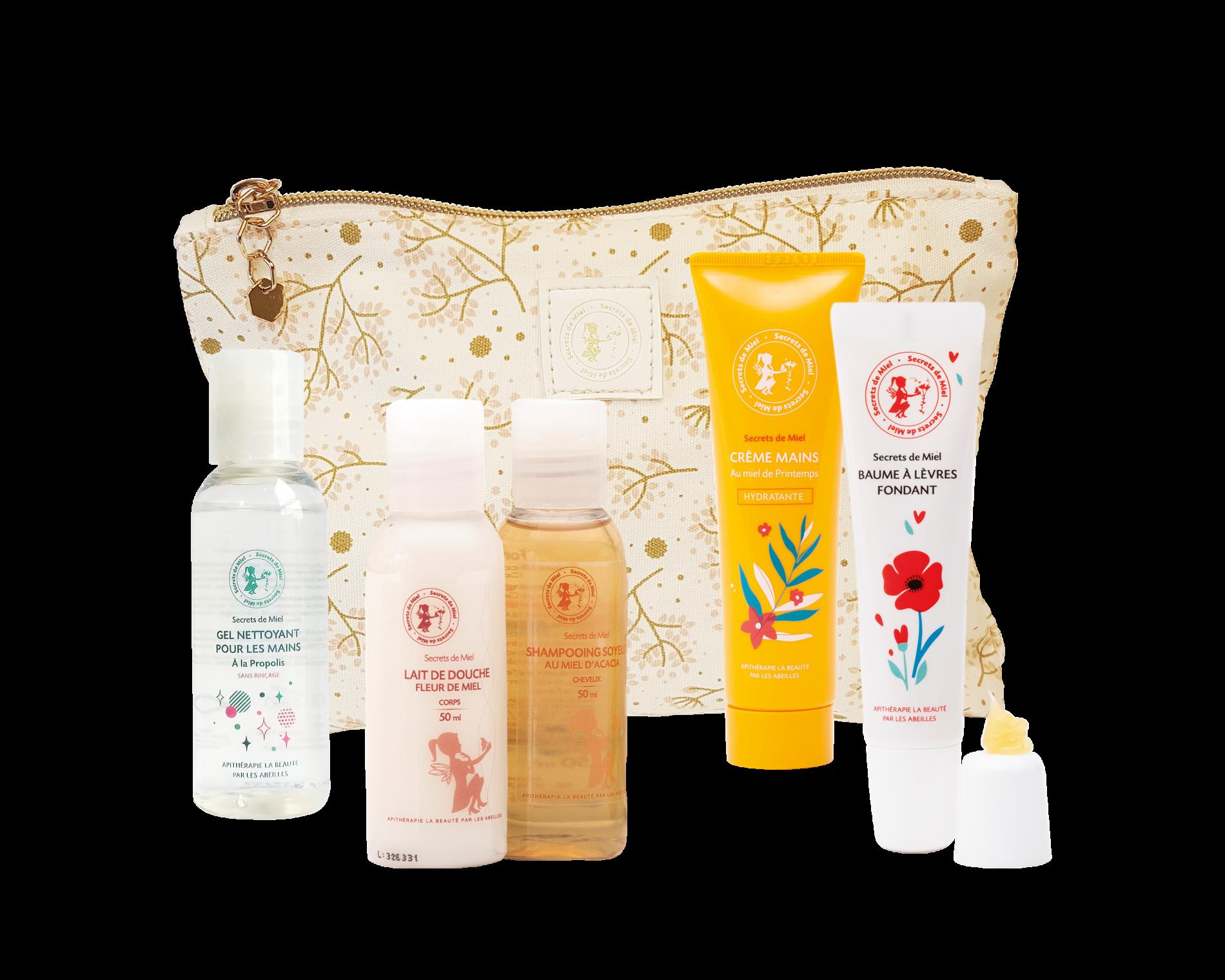 trousse de voyage - essentiels de l'été - offre - Secrets de Miel - apithérapie - cosmétiques naturels - fabriqué en France