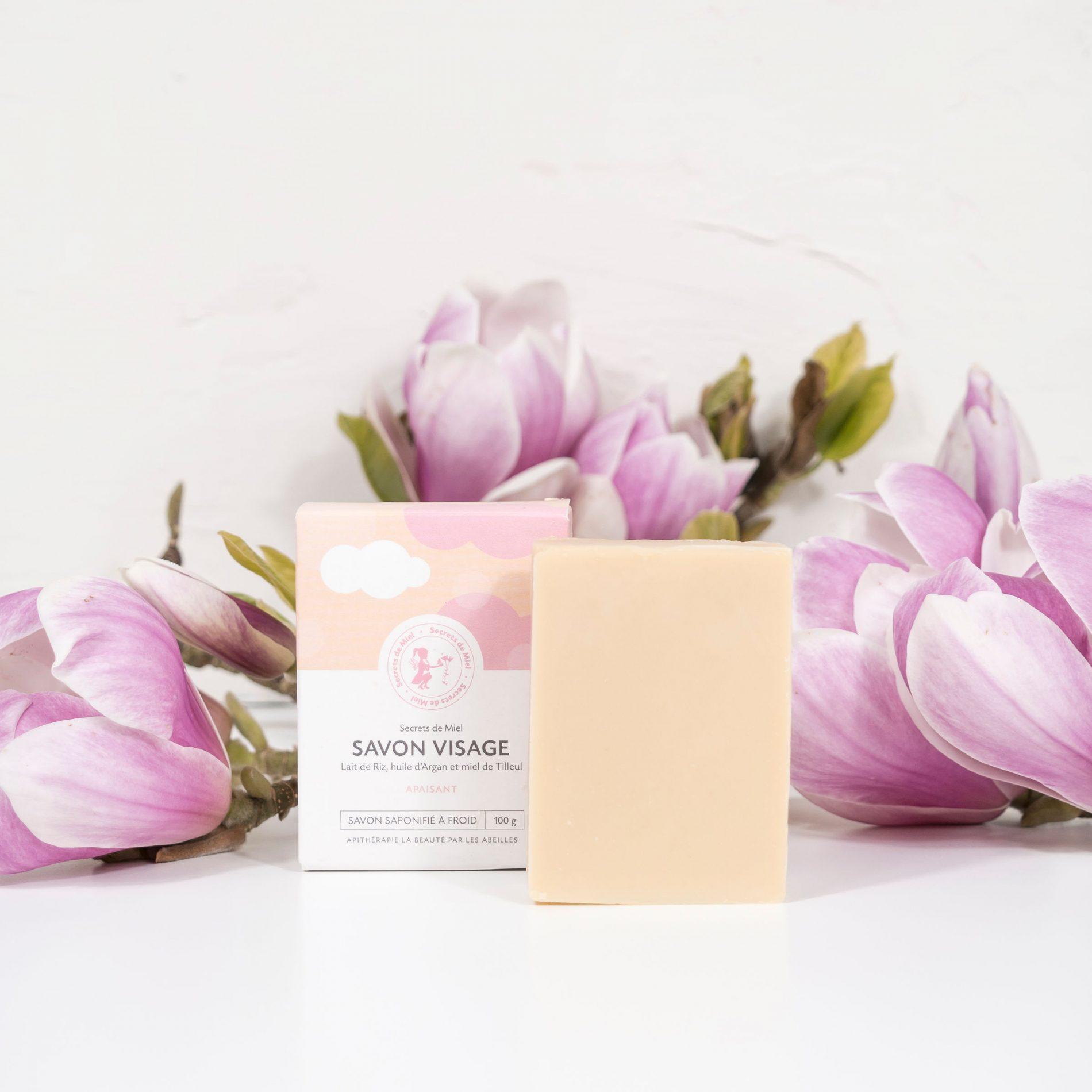 Savon apaisant - Lait de riz, Argan et Tilleul - savon visage - nettoyant visage - produit naturel - savon saponifié à froid - Secrets de Miel