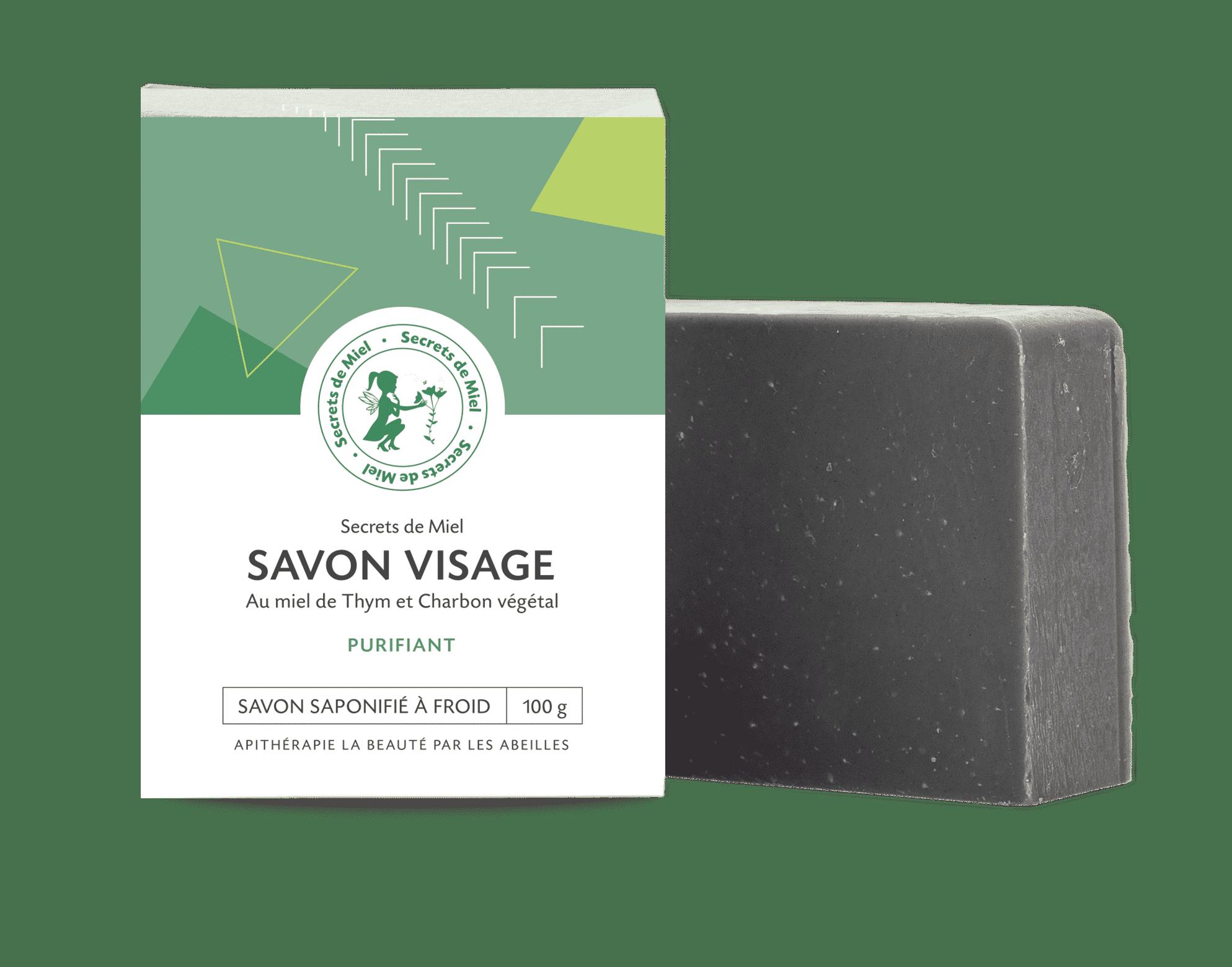 Savon visage Thym et Charbon - secrets de miel - peaux acnéiques - maskne - produits naturels