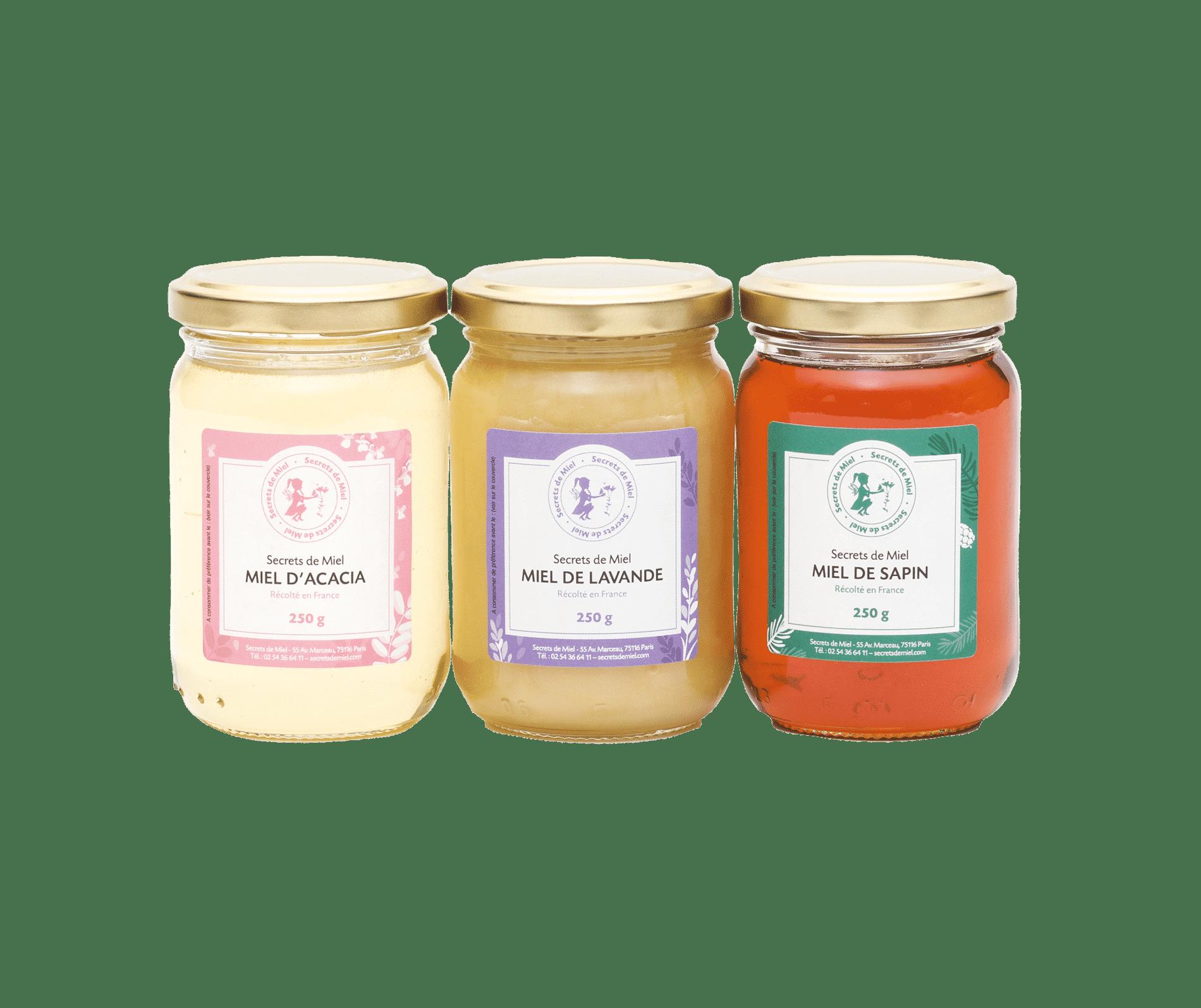 coffret miels rares - miels de France - cadeau gourmet - Noël - Secrets de Miel - savoir-faire - artisanal