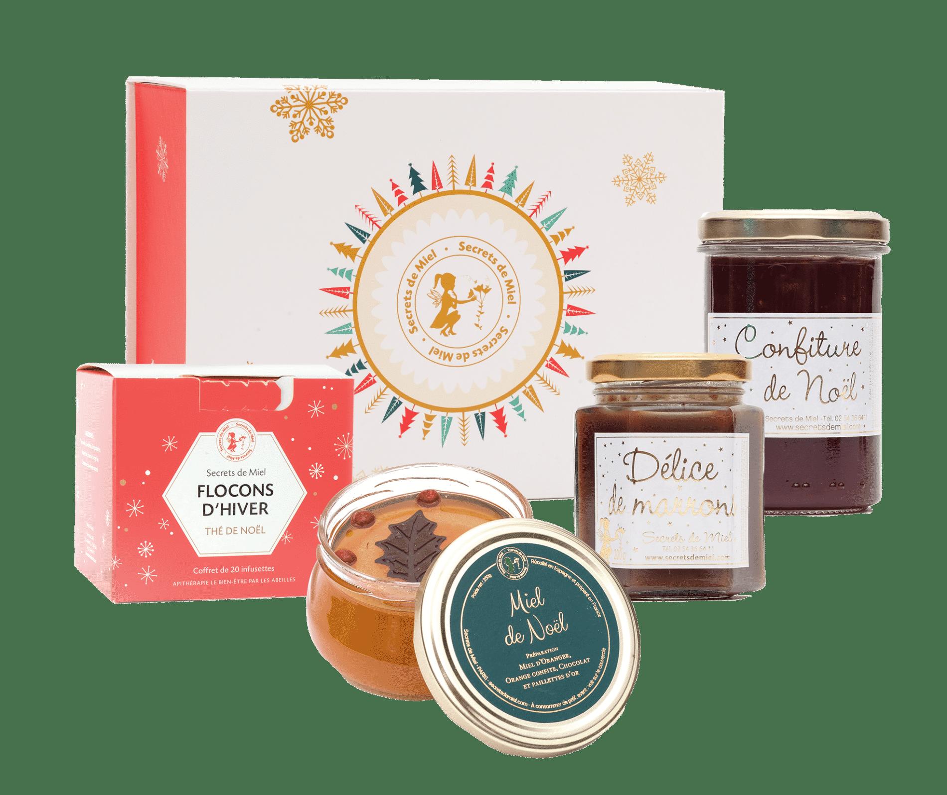coffret sur mesure - Noël - produits naturels et locaux - produits gourmands - coffret gourmet - Secrets de Miel