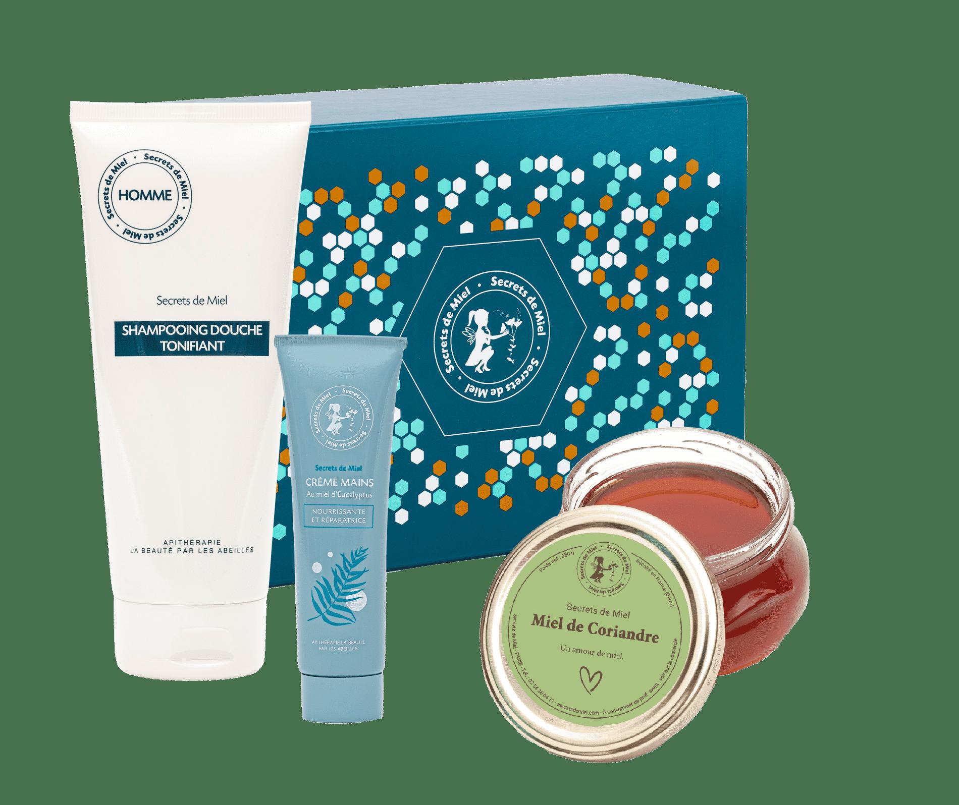 cadeau Fête des pères - Secrets de Miel - miel de Coriandre - coffret - made in France - cosmétiques - soins corps - miel - gourmand