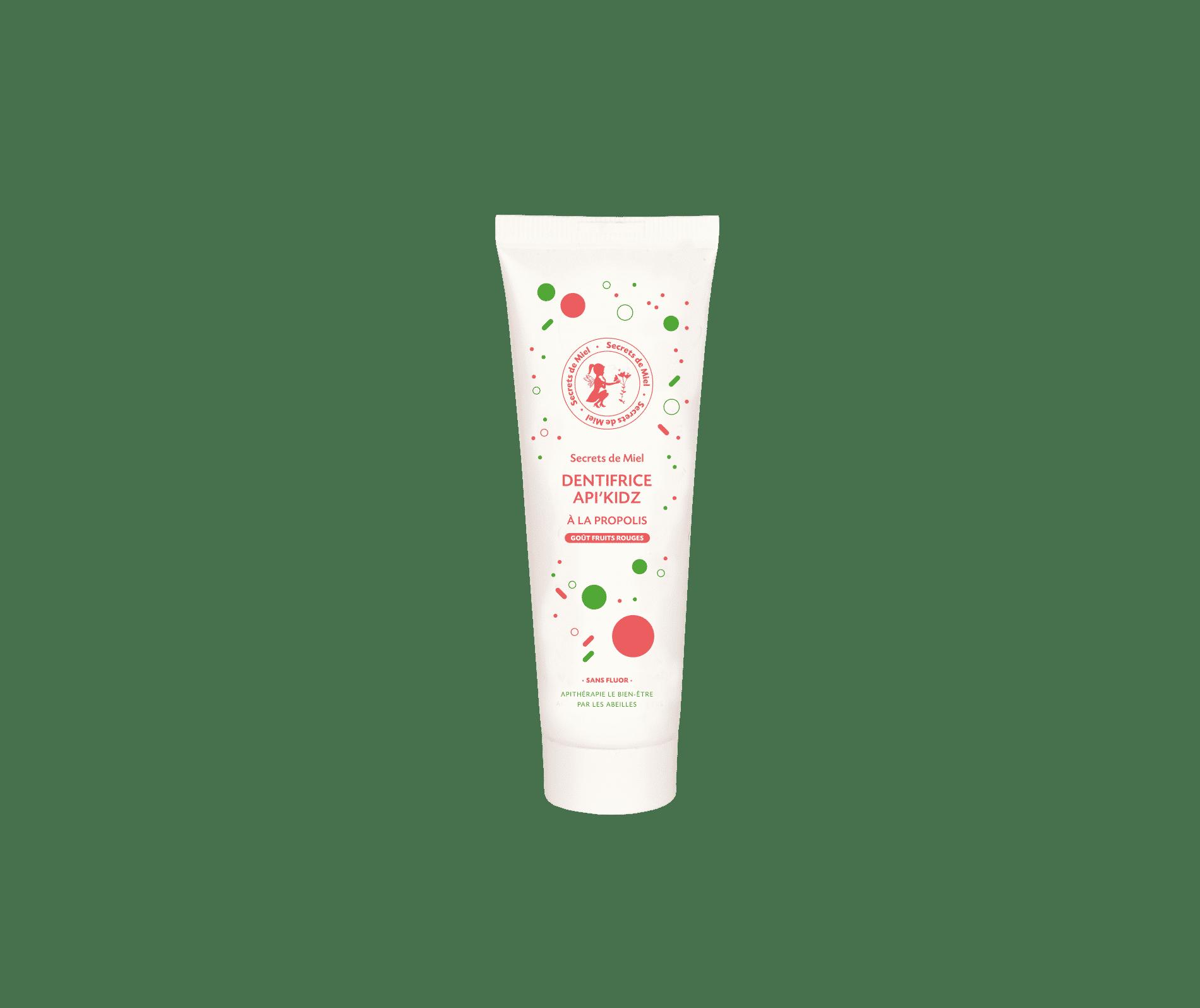 dentifrice pour enfants - sans fluor - à la propolis - goût fruits rouges - formule naturelle - Made in France - Secrets de Miel