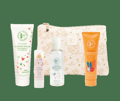 trousse essentiels - cosmétiques - hygiène - hydratation - produits de la ruche - produits naturels - trousse famille - Secrets de Miel
