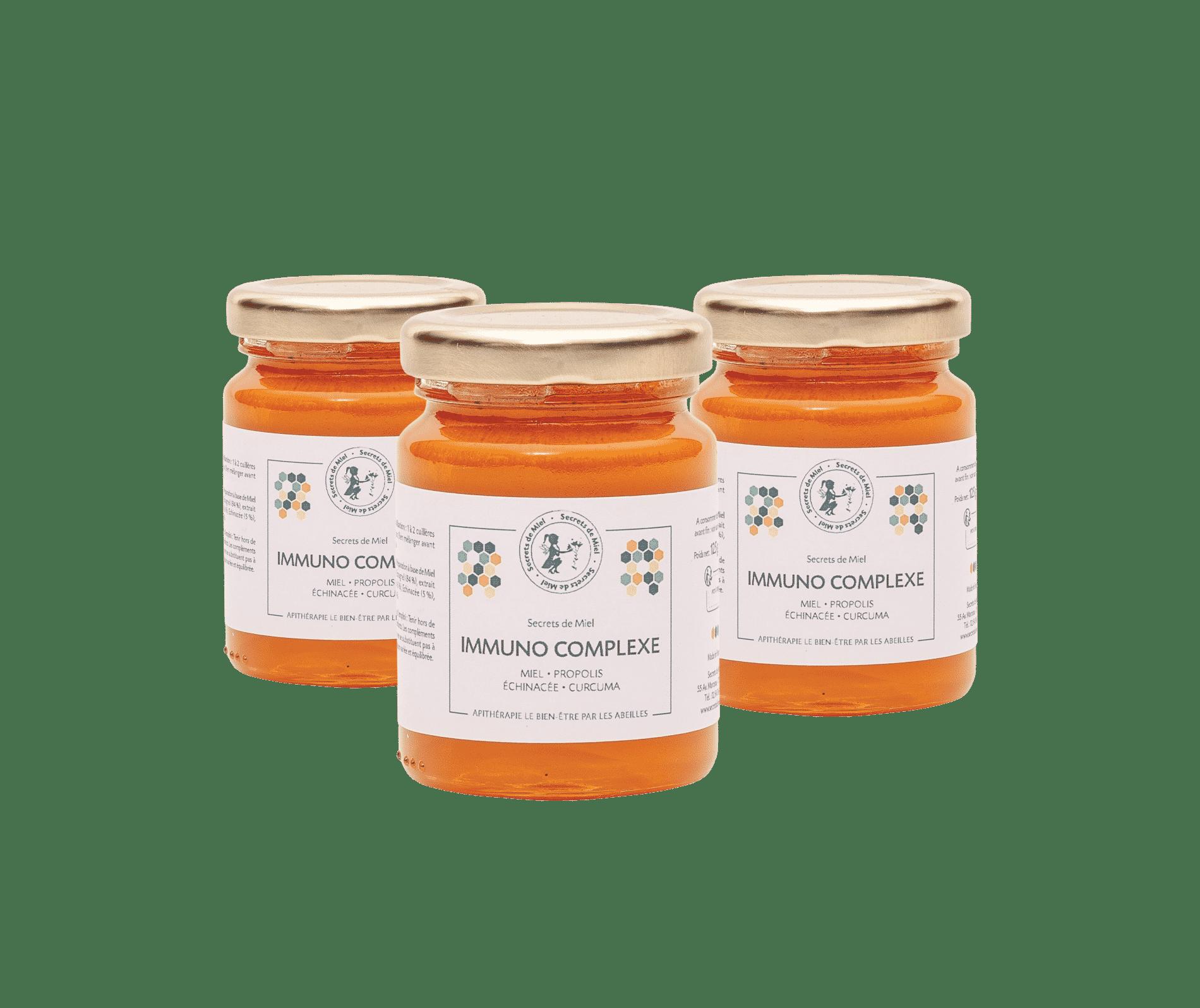 Immuno Complexe - mélange miel et plantes - miel - curcuma - échinacée - Secrets de Miel - booster ses défenses naturelles