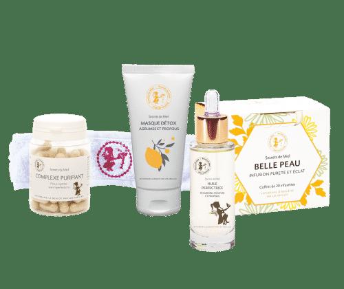 offre de lancement - routine pureté - peaux à imperfections - in and out - cosmétiques à base de miel - huile pour les peaux grasses - Secrets de Miel