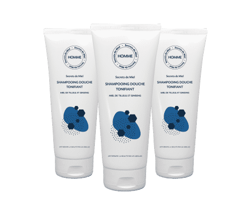 shampooing douche - soin lavant - homme - Secrets de Miel - Miel - Ginseng - fraicheur tonique - bain